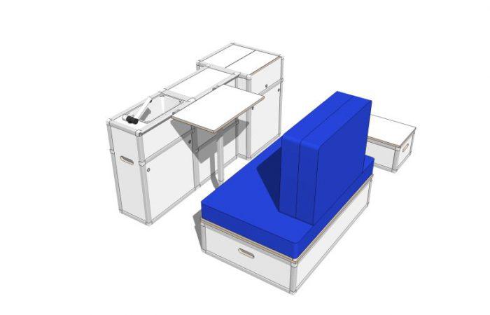 3D alle Module, Wohnposition, mit Tisch