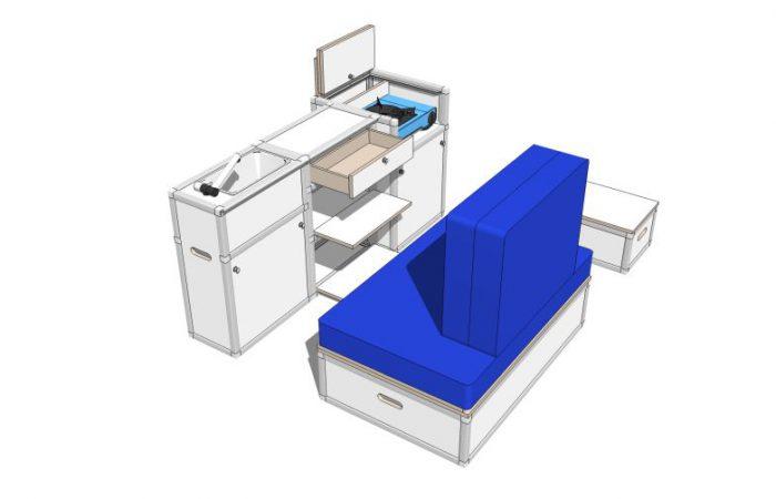 3D alle Module, Wohnposition, Fächer geöffnet