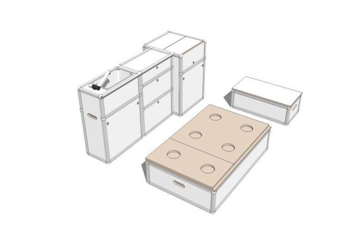 3D alle Module, Wohnposition, ohne Polster