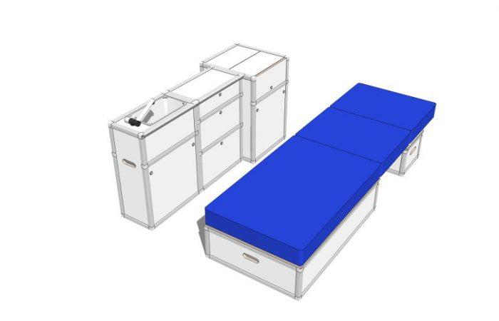 3D alle Module, Schlafposition