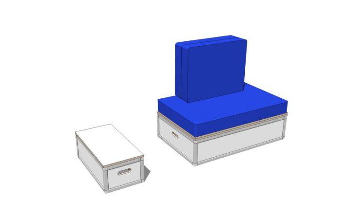 3D Bett- und Elektromodul mit Polstern