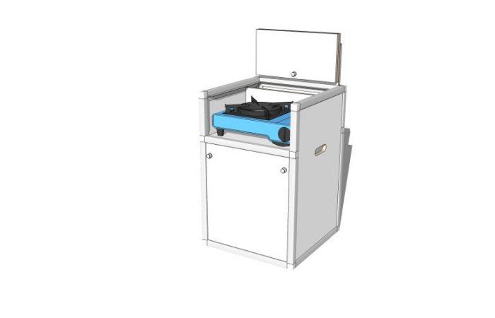 3D Koch-/WC-Modul, Klappe geöffnet, gedreht