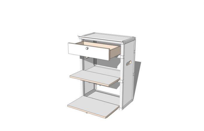3D Staumodul, Fächer geöffnet, gedreht