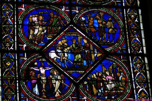 Der Karfreitag als mittelalterliche Glasmalerei
