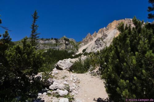 Die Felsen sind hier sehr unterschiedlich gefärbt und geformt